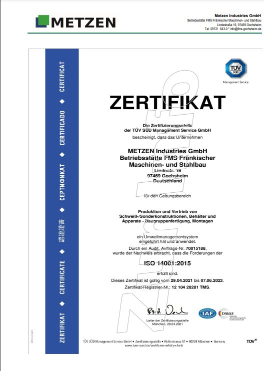 ISO 14001:2015 vom 29.04.2021