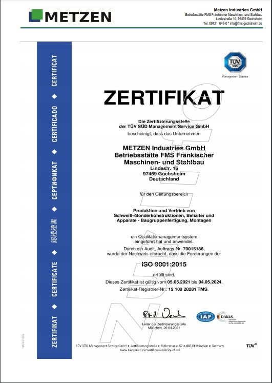 ISO 9001:2015 vom 29.04.2021