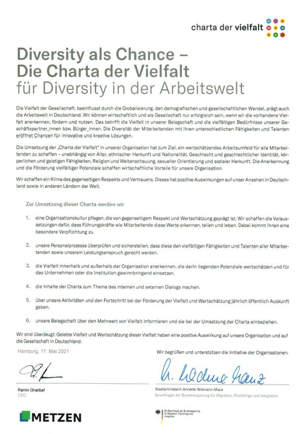 Als Mitglied der Charta der Vielfalt, einer Initiative der deutschen Bundesregierung, legen wir bei METZEN hohen Wert auf die Diversität im eigenen Unternehmen.